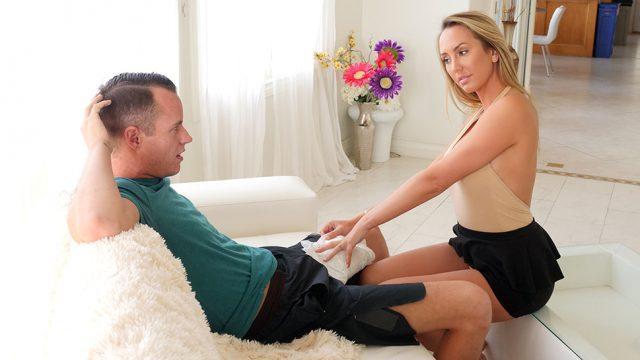 Sexy Stepmom Brett Rossi Rubs Stepson's Massive Dick